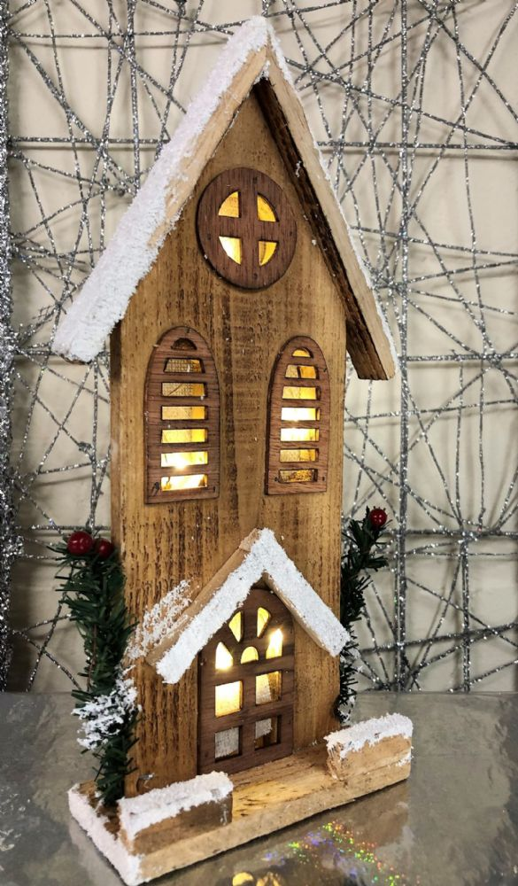 30cm Church with Christmas Berries LED Wooden Mantel Ornament